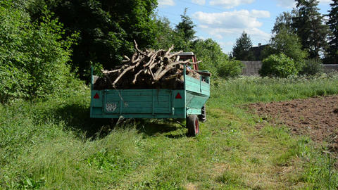 Tractor with trailer full loaded with tree firewood logs Footage