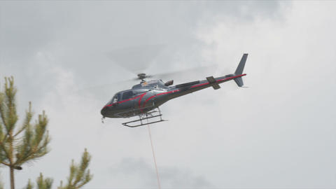 FullHD, Helicopters In Restonica Valley, Corsica stock footage