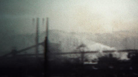 (8mm Vintage) 1956 Factory Smokestack Pollution Industry West Virginia, USA stock footage
