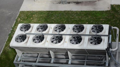 Ventilator fan spin on industrial building biogas bio gas plant Footage
