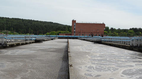 Water treatment facility plant with large pools of dirty sewage Footage