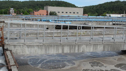 Panorama of sewage waste water treatment aeration basin bubble Footage