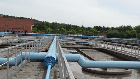 turn view of sewage waste water treatment aeration basin bubble Footage