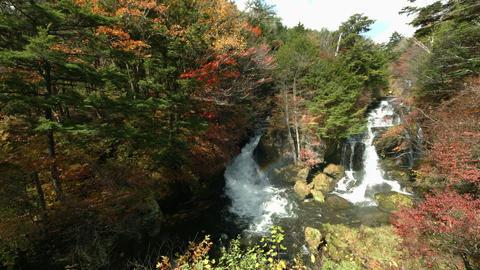 colorful waterfall Ryuzunotaki in Japan Footage