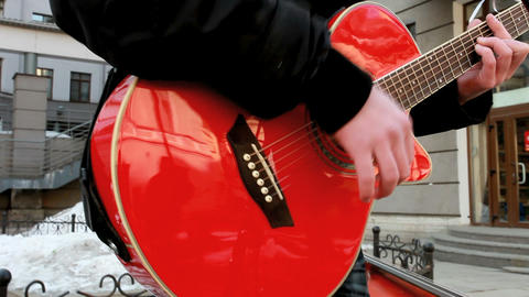 red guitar Stock Video Footage