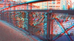 Stereoscopic 3D Helsinki 7 - Love Bridge in downtown Stock Video Footage