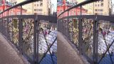 Stereoscopic 3D Helsinki 7 - Love Bridge in downtown Footage
