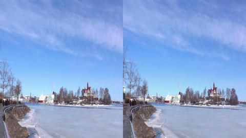Stereoscopic 3D Helsinki 9 - cafeteria on island Stock Video Footage