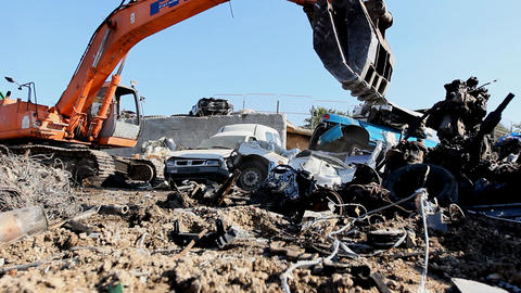 Large Scrap Metal Recycling Center Scrap Metal Recycling... Stock Video Footage