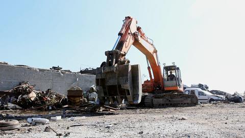 Large Scrap Metal Recycling Center Scrap Metal Recycling... Stock Video Footage