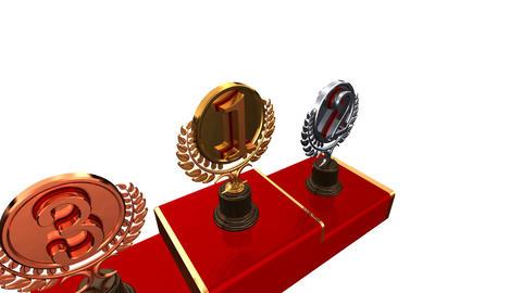 Podium Prize Trophy Ecw HD Stock Video Footage