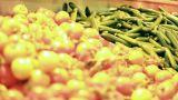 Vegetables fruits salad apple banana orange healthy merchandise supermarket diet Footage