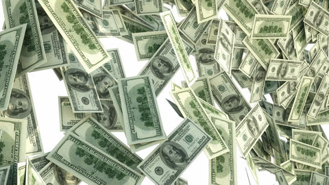 US Dollar Bundles Falling Down Stock Video Footage