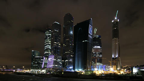 Moscow City complex timelapse Stock Video Footage