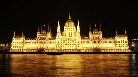 Budapest Hungarian Parliament Night Timelapse 01 Stock Video Footage