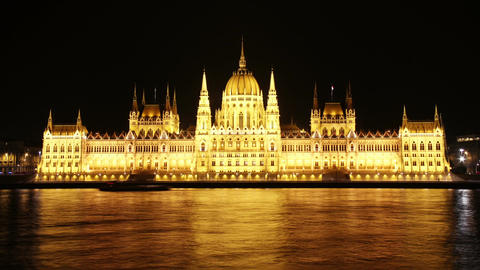 Budapest Hungarian Parliament Night Timelapse 01 Footage
