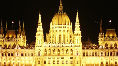 Budapest Hungarian Parliament Night Timelapse 03 zoom Stock Video Footage