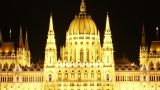Budapest Hungarian Parliament Night Timelapse 03 Zoom stock footage