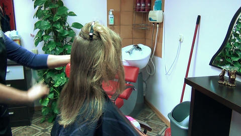 barber woman hands cut customer hairs hairdresser salon Footage