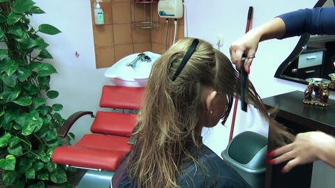 professional hairdresser comb hair and trims hair cracks tips Footage