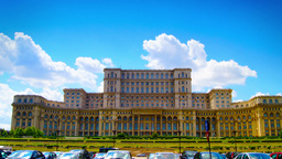 Romanian Parliament or People's House in Bucharest, Romania.Time lapse, zoom In Footage