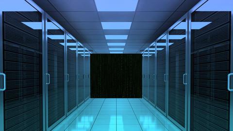Server Room Data Digital Matrix Numeric Visual stock footage