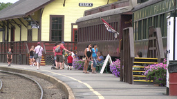 People going on trains at train museum (2 of 4) Footage