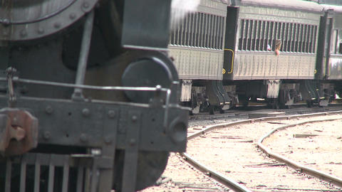 Train parked on side track Footage