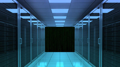 Server Room Digital Matrix Numeric Visual Zoom Motion stock footage