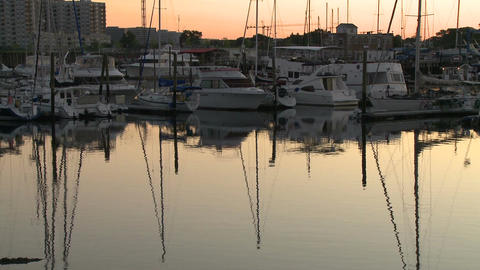 Boats docked at sunrise (2 of 6) Footage