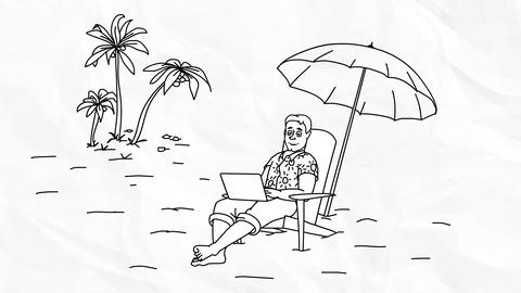 Freelancer With A Laptop On The Beach (looped Background) stock footage
