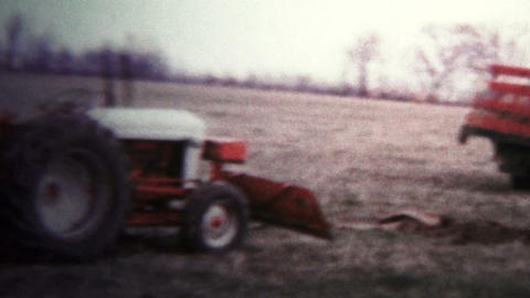 1957 - Tractor Digging Trenches For Pipes stock footage