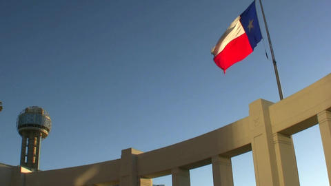 Texas Flag And Reunion Tower stock footage