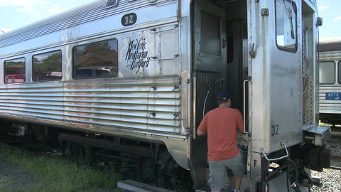 People going on trains at train museum (3 of 4) Footage