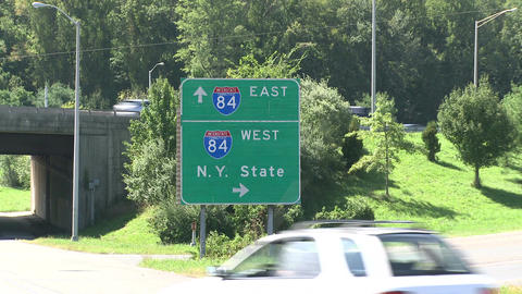 Interstate sign by the highway in New York (1 of 2) Footage