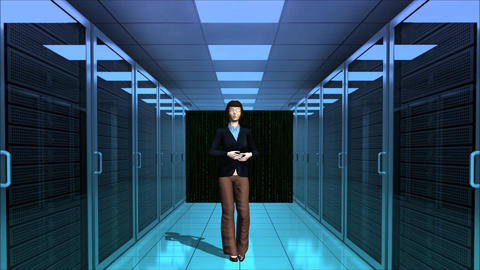 Computer Server Room Digital Matrix Numeric With Officer Company stock footage