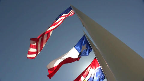 Three Flags On Bright Sunny Day stock footage