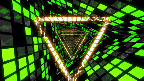 VJ Loop Green Triangular Tunnel 3 Animation