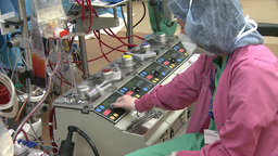 Technician monitoring heart lung bypass machine (1 of 2) Footage