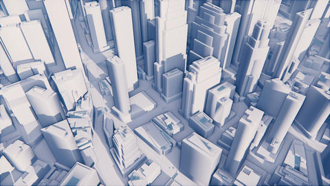 Abstract white 3D modern city with high rise buildings Animation