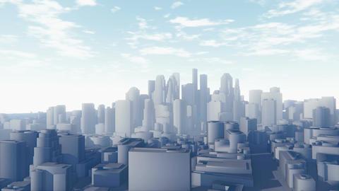Flight through abstract white city Animation