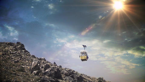 Telecabin In Mountains stock footage
