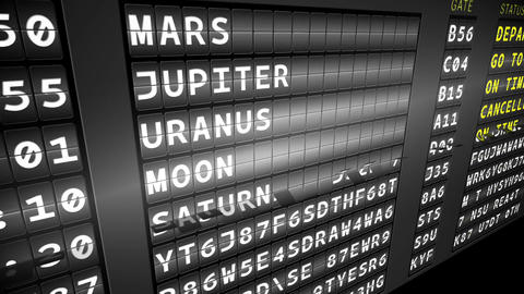 Departures board for space travel Animation