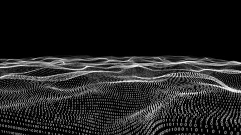 Abstract white technology landscape of binary code on black Animation