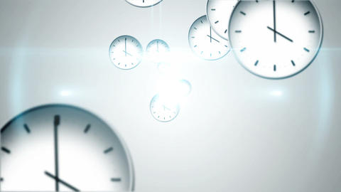 Time passing concept with many clocks Animation