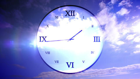Time passing concept with blue sky Animation