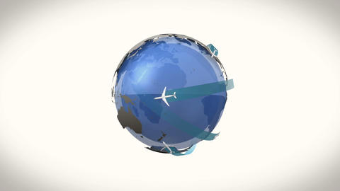 Airplanes flying around earth graphic Animation