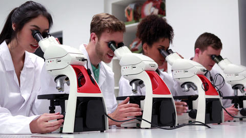 Medical students working with microscopes Footage