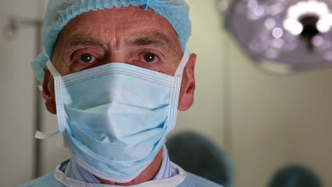 Medical professor in surgical gear and mask Footage