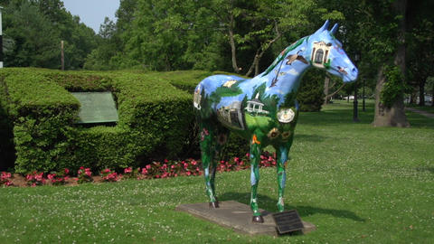 Colorful Horse Sculpture stock footage